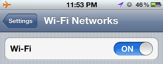 Airplane mode with Wi-Fi turned on