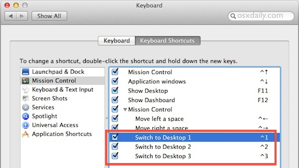 Enable fast Desktop Switching keyboard shortcuts