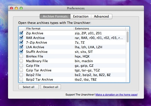 Extract files in Mac OS X with Unarchiver