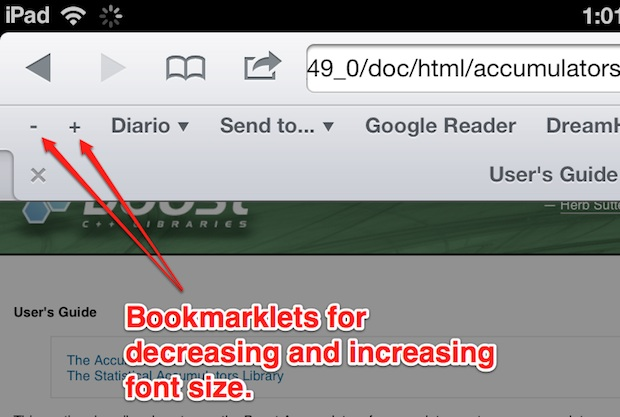 Change font size on Safari for iPad with bookmarklets