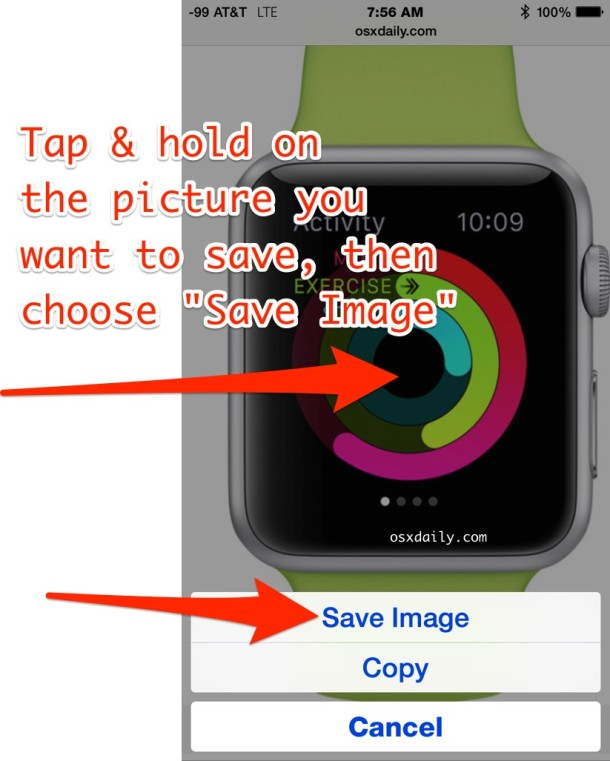 How to save a picture from the web with Safari for iOS