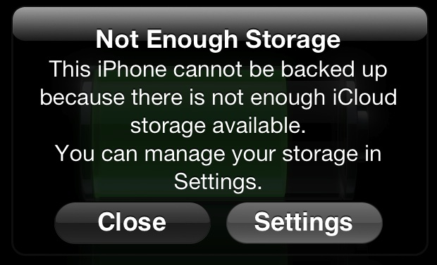 Not Enough Storage message from iCloud backup