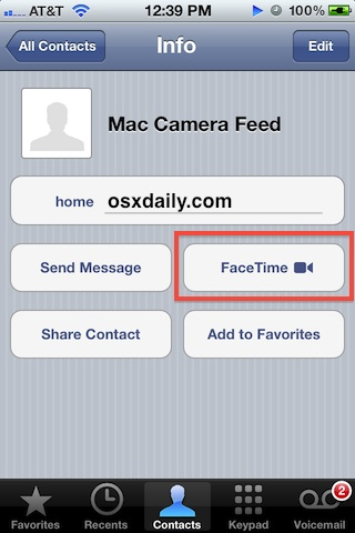 Open FaceTime to Mac Security Cam