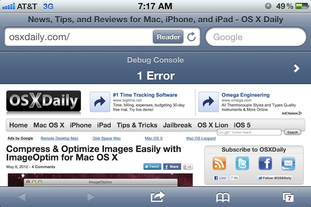Safari Debug Console in iOS, as shown on iPhone