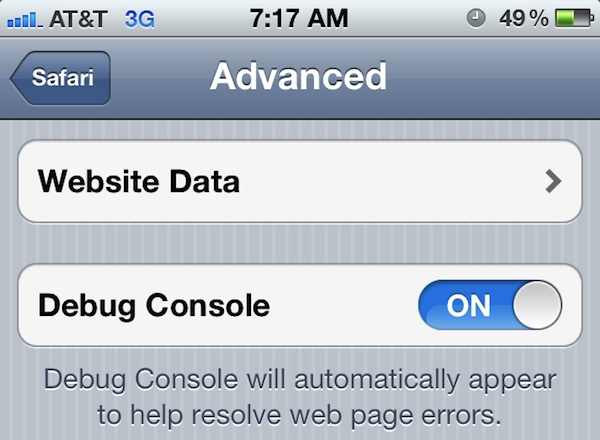 Enable the Safari Debug Console in iOS