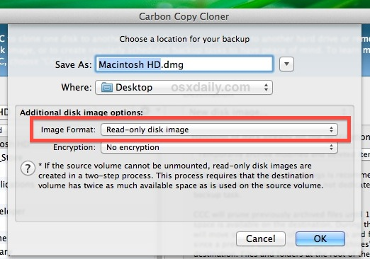 Set the disk image as DMG format