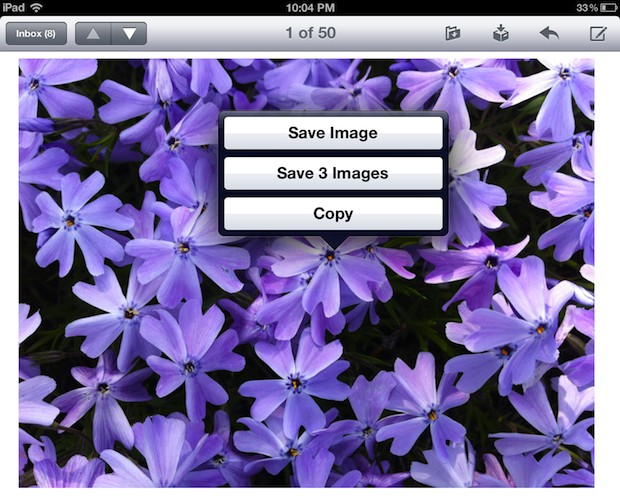 Save an image or images from Mail app in Safari on iPad