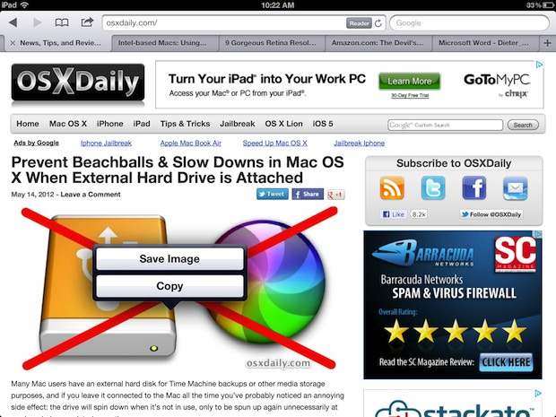 Save an image from the web with Safari for iPad