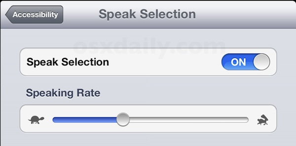Enable Speak Selection in iOS