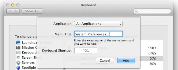 System Preferences keyboard shortcut in Mac OS X