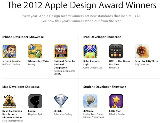 Apple Design Award winners for 2012