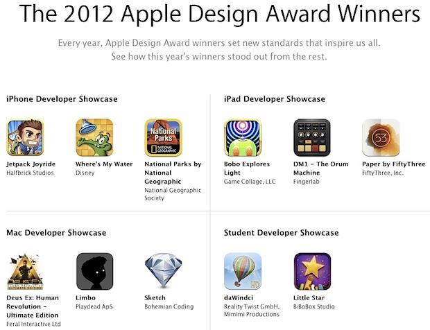 Apple Design Award winners for 2012