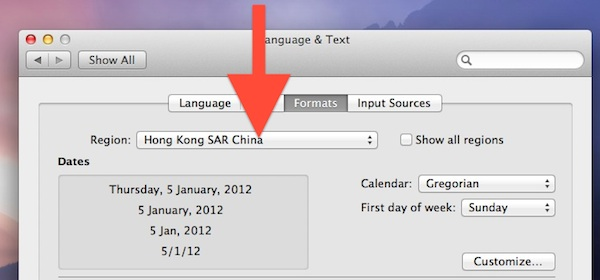 Change Regional Settings in Mac OS X