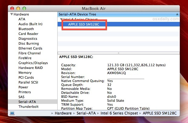 Check the Manufacturer of an SSD Drive in Mac OS X