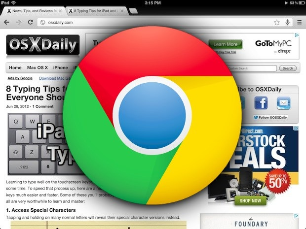 Chrome for iOS shown on iPad