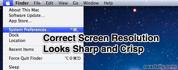 Correct screen resolution showing sharp fonts
