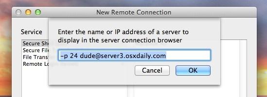 Create an SSH bookmark in Terminal for Mac OS X