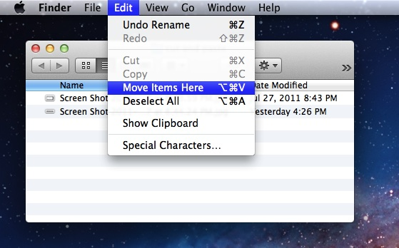 Cut and Paste files in Mac OS X