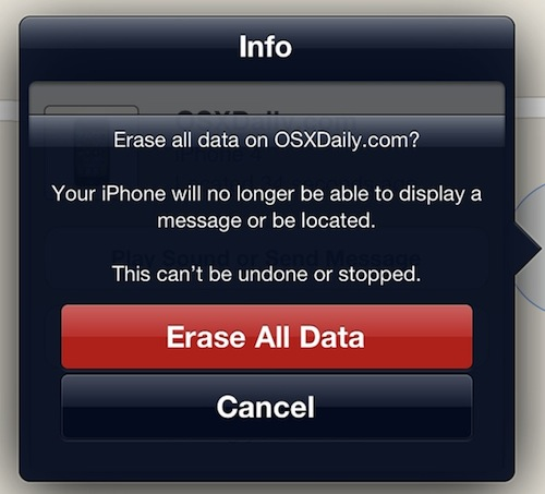 Confirm Erase All Data on iPhone from Remote Wipe