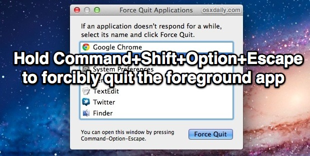 Force Quit an Application quickly, without having to use Activity Monitor or Force Quit menu