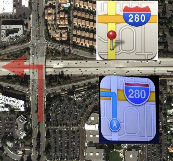 iOS 6 maps icon driving off a bridge