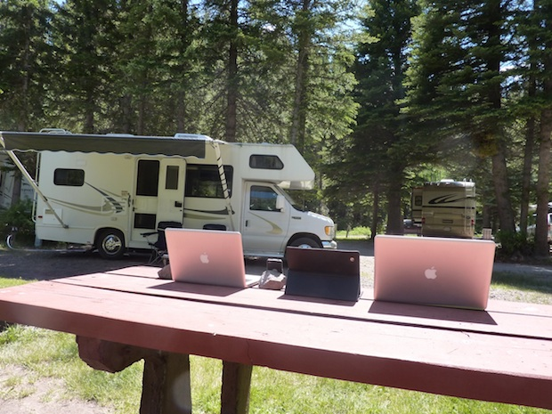 MacBook Pro setup at a campground and RV