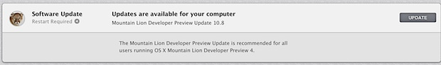 OS X Mountain Lion Developer Preview 4 update