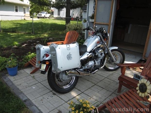 Motorcycle with PowerMac G4 as Saddlebags