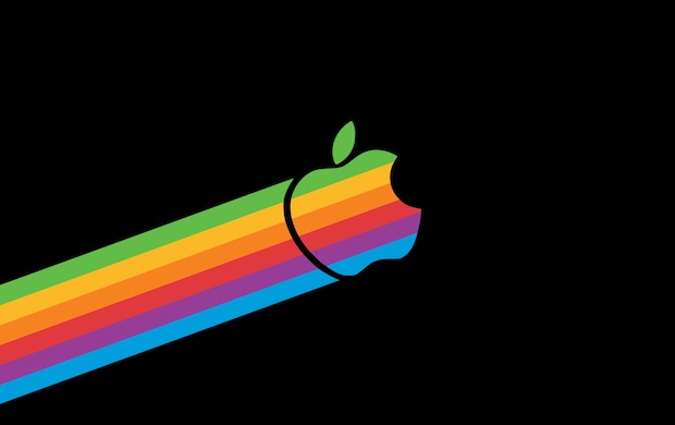 Retro Flying Apple logo