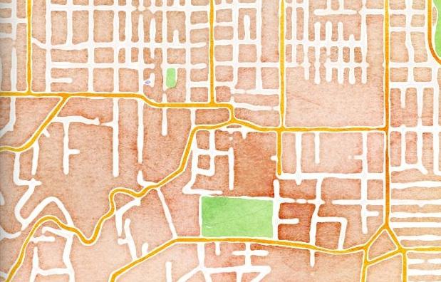Satellite eyes neighborhood watercolor view