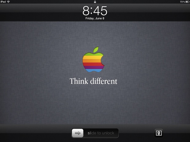 Retro Apple logo & Think Different lock screen wallpaper