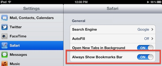 Always show bookmarks bar in Safari for iPad