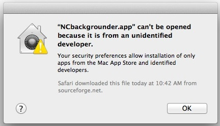 App Can't be Opened from Unidentified Developer warning