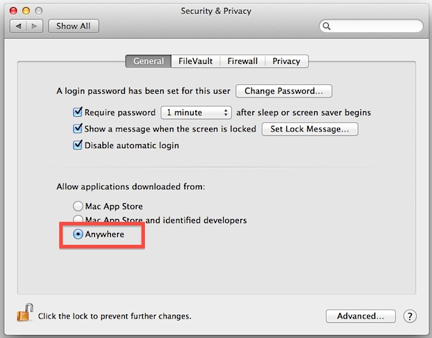 Disable Gatekeeper blocking unidentified apps in Mac OS X Mountain Lion