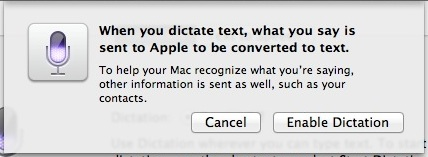 Confirm Enable Dictation in Mac OS X Mountain Lion