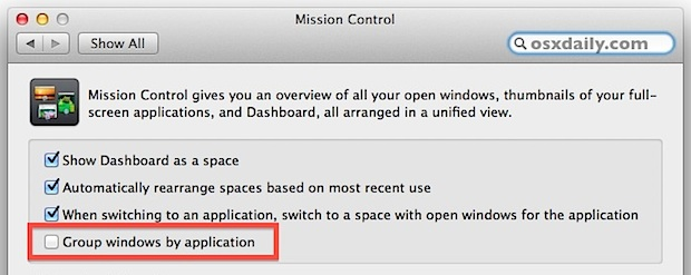 Turn off grouped windows in OS X Mountain Lion for Expose instead of Mission Control