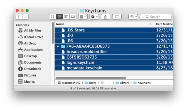 Keychain data location on Mac OS