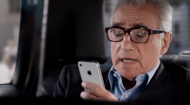 Martin Scorsese using an iPhone