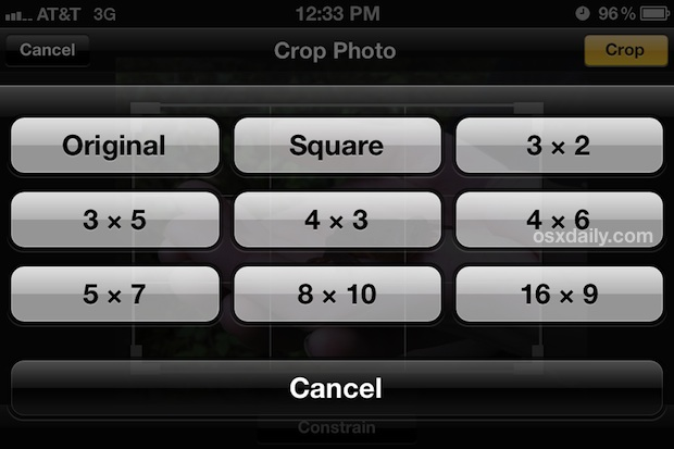 Proportional crop tool in iOS Photos app works on iPhone or iPad