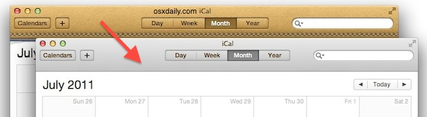 Leather UI removed from iCal/Calendar in OS X with MountainTweaks