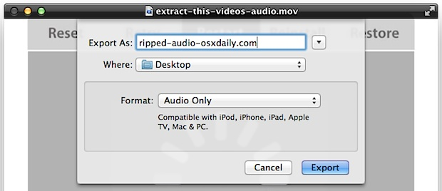 Rip Audio Tracks from Video using QuickTime