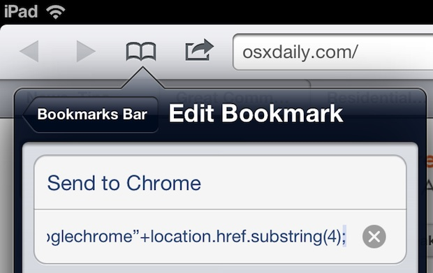 Send webpage from Safari to Chrome in iOS with a bookmarklet