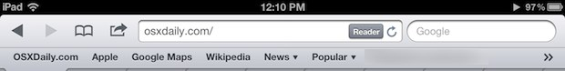 Always show bookmarks bar in Safari on iPad