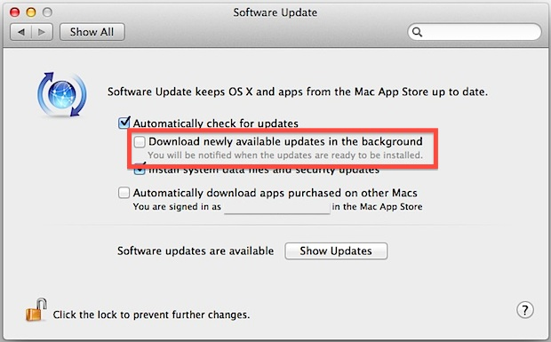 Stop automatic app downloads and updates in OS X Mountain Lion