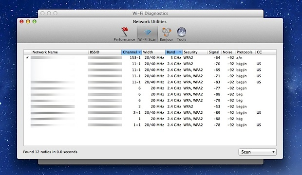 Wi-Fi Scanner in Mac OS X Mountain Lion