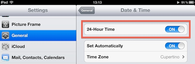 Use 24 Hour Time on iPhone and iPad