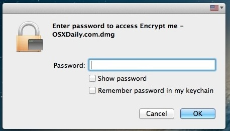 Accessing the encrypted folder in Mac OS X requires a password
