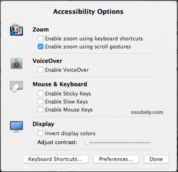 Accessibility Options in Mac OS X