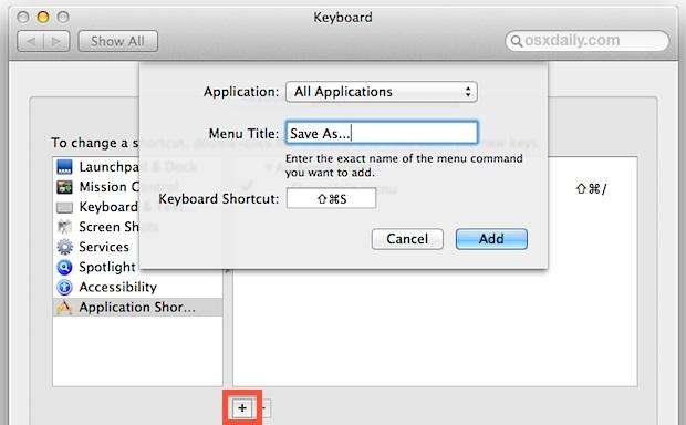 "Add a ""Save As"" keyboard shortcut to OS X Mavericks and Mountain Lion"