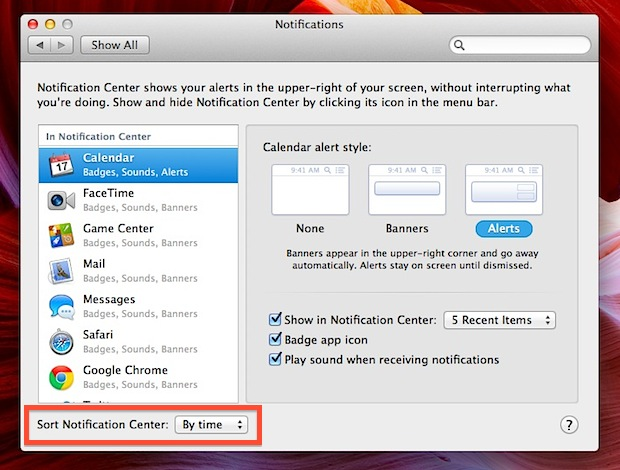 Arrange Notifications by Time of Arrival in OS X